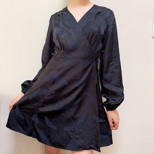 H&M Satin Black Navy Wrap Mini Dress Size 10